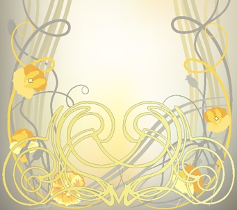 Art Deco Yellow Poppies