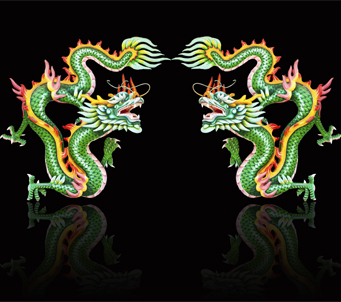 Asian Twin Green Dragon