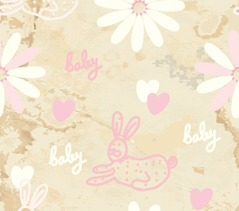 Baby Bunnies and Flowers