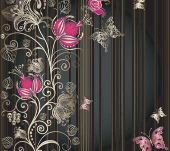 Black Vintage Pink Butterflies