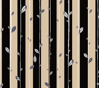 Black and Beige Stripe with Leaves