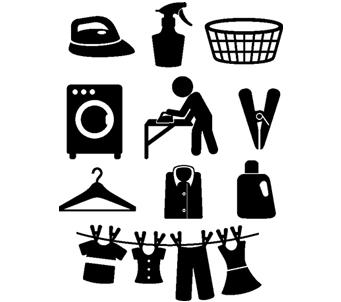 Blackand White Laundry Icons