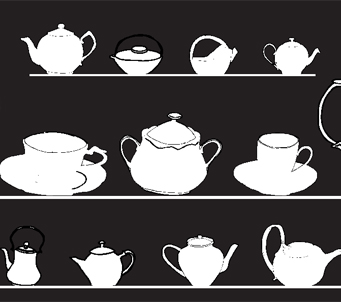 Black And White Teapots Custom Printed Blinds Kids
