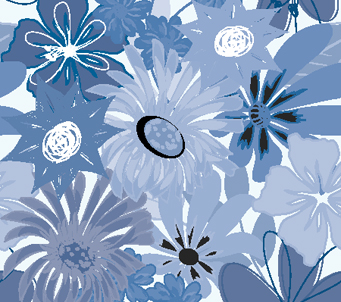 Blue Artistic Flowers Pattern