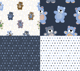Blue Teddies and Spots