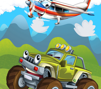 Cartoon Four Wheel Drive and Plane