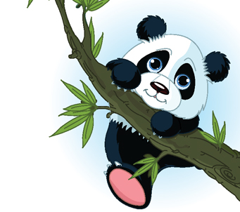 Cartoon Panda Climbing Tree