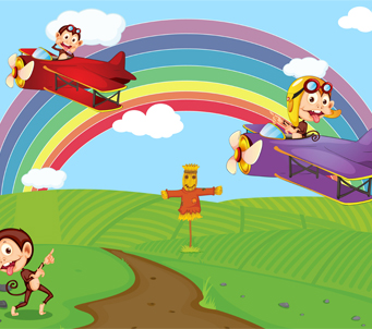 Cartoon Rainbow and Planes