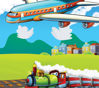 Cartoon Train and Plane