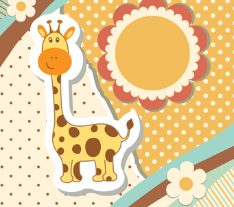 Cartoon Vintage Giraffe