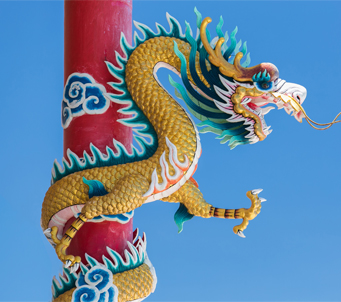 Chinese Dragon with Blue Sky