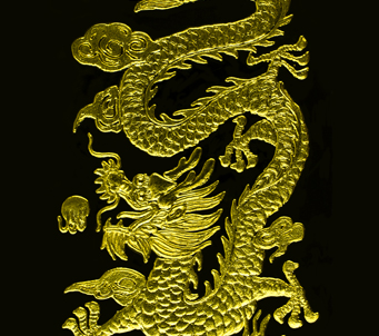 Chinese Gold Dragon Black Background