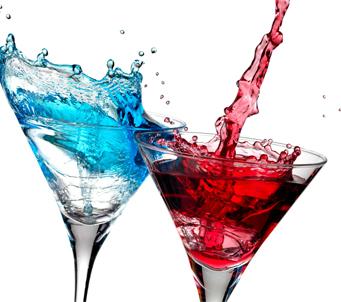 Cocktail Bar Red and Blue Splash