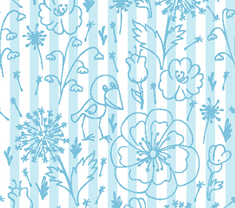 Doodle flowers on Blue and White Stripe