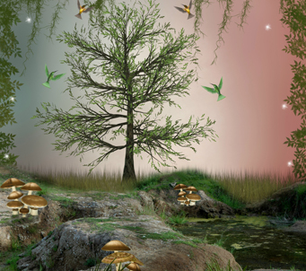 Fantasy Landscape with Hummingbird