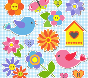 Flower and Bird Stickers