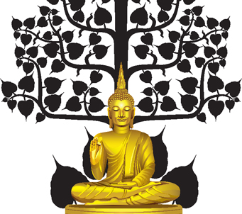 Golden Sitting Buddha under Tree
