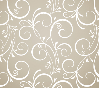 Grey and White Hearts and Flowers Pattern