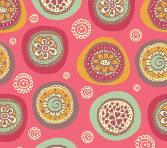 Hearts and Flowers Circle Pattern