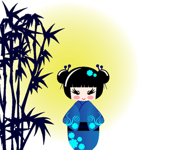 Kids Blue Kokeshi Doll