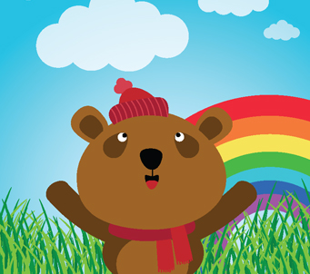 Kids Brown Bear With Rainbow