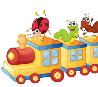 Kids Bugs on a Toy Train