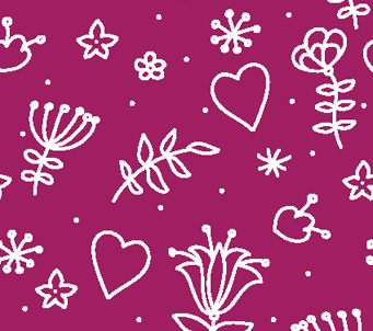 Kids Floral and Hearts Wallpaper