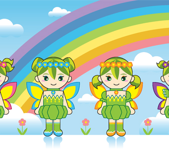 Kids Four Fairies withRainbow