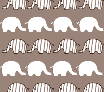 Kids Grey and White Elephant Pattern