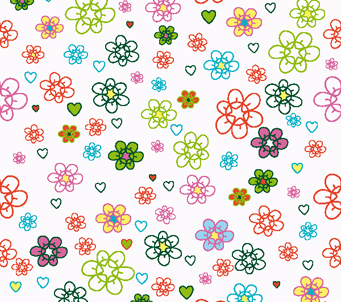 Kids Hearts and Flowers Pattern