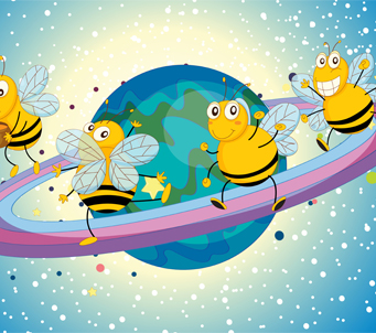 Kids Honeybees on Saturn rings