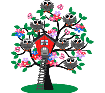 Kids Owls in Tree