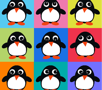 Kids Penguins Grid