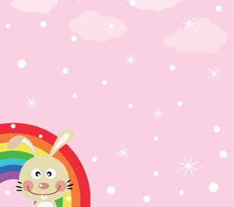 Kids Pink Sky Rainbow Bunny