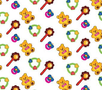 Kids Teddies and Rattles Wallpaper