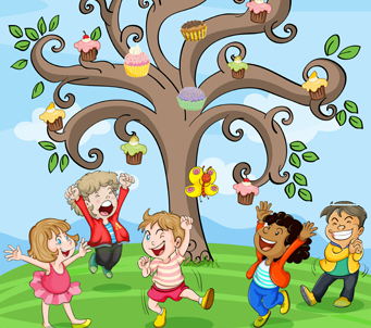 Kids playing under Tree