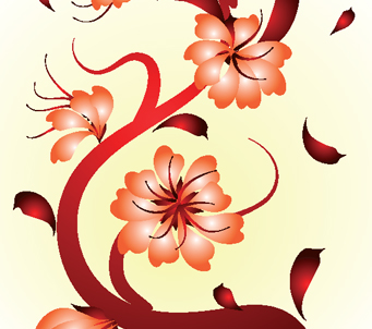 Painted Oriental Flowers