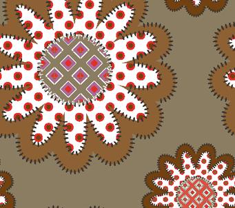 Patchwork Brown Floral