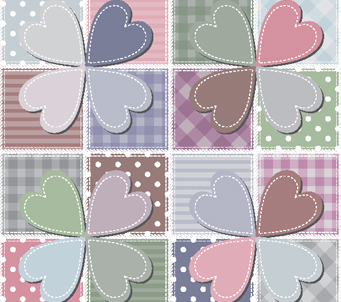Patchwork Loveheart Flowers