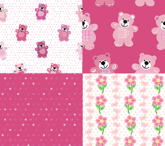 Pink Teddies and Flowers