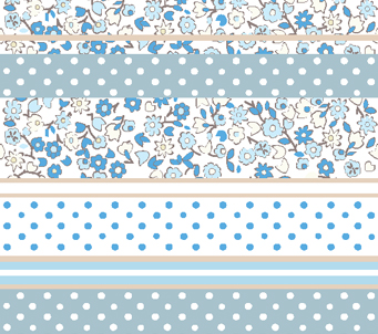 Powder Blue Flower Retro