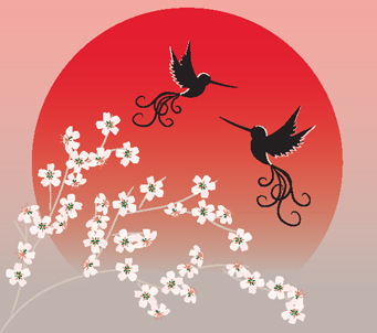 Two Flying Birds and Sakura