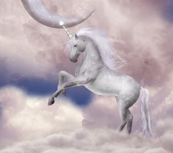 Unicorn with pink moon