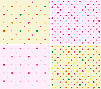 Wallpaper set of four dots and hearts