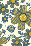 Yellow Blue Flower Doodle