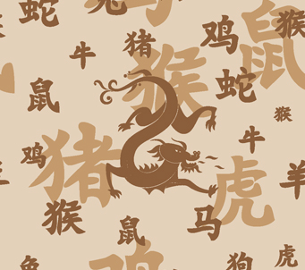 Chinese Zodiac Hieroglyphs and Dragon